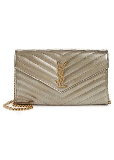 Saint Laurent Monogramme Quilted Metallic Leather Wallet on a Chain