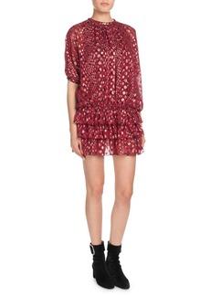 Saint Laurent Multi-Dot Tiered Short-Sleeve Metallic Silk Mini Dress