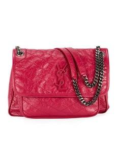 Saint Laurent Niki Medium Monogram YSL Shiny Waxy Quilted Shoulder Bag