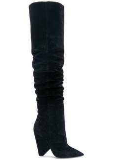 Saint Laurent Niki Velvet Thigh High Boots