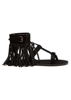 Saint Laurent Nino suede fringed studded T-bar sandals