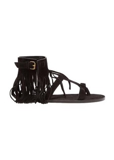 Saint Laurent Nino suede fringed T-bar sandals