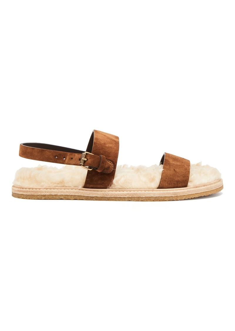 Saint Laurent Noé shearling-sole suede sandals