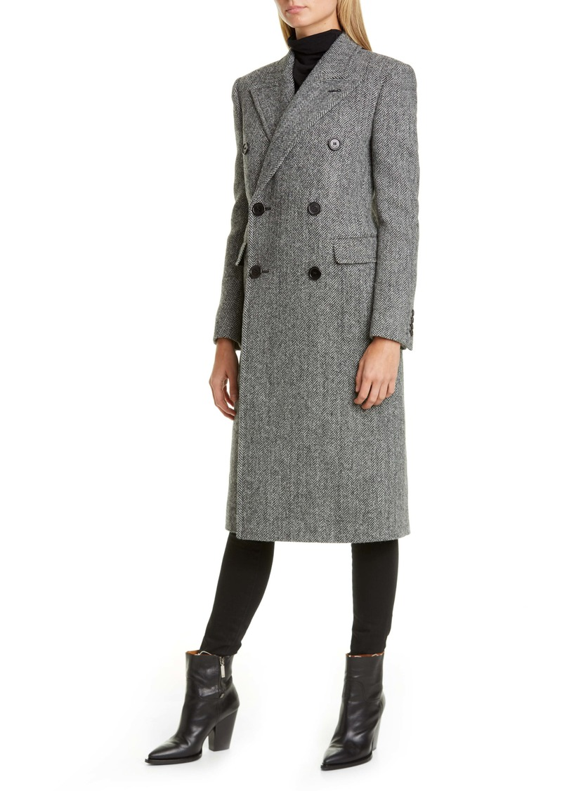 Saint Laurent Notch Collar Wool Coat
