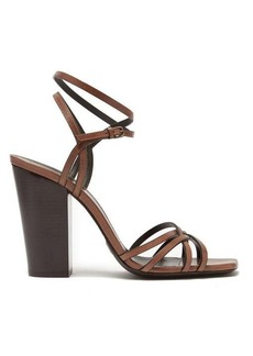 Saint Laurent Oak 100mm block-heel strappy leather sandals