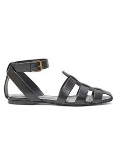 Saint Laurent Oak caged flat leather sandals