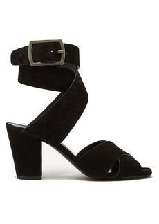 Saint Laurent Oak cross-over strap suede sandals