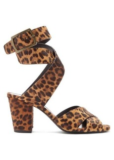 Saint Laurent Oak leopard-print calf-hair sandals