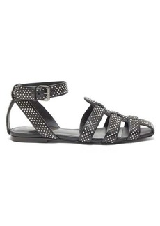 Saint Laurent Oak studded flat leather sandals