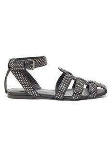 Saint Laurent Oak studded flat leather sandals