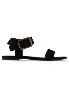 Saint Laurent Oak suede and leather buckle sandals