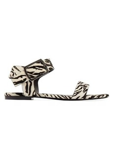 Saint Laurent Oak tiger-print calf-hair buckle sandals
