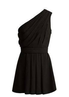 Saint Laurent One-shoulder draped crepe mini dress