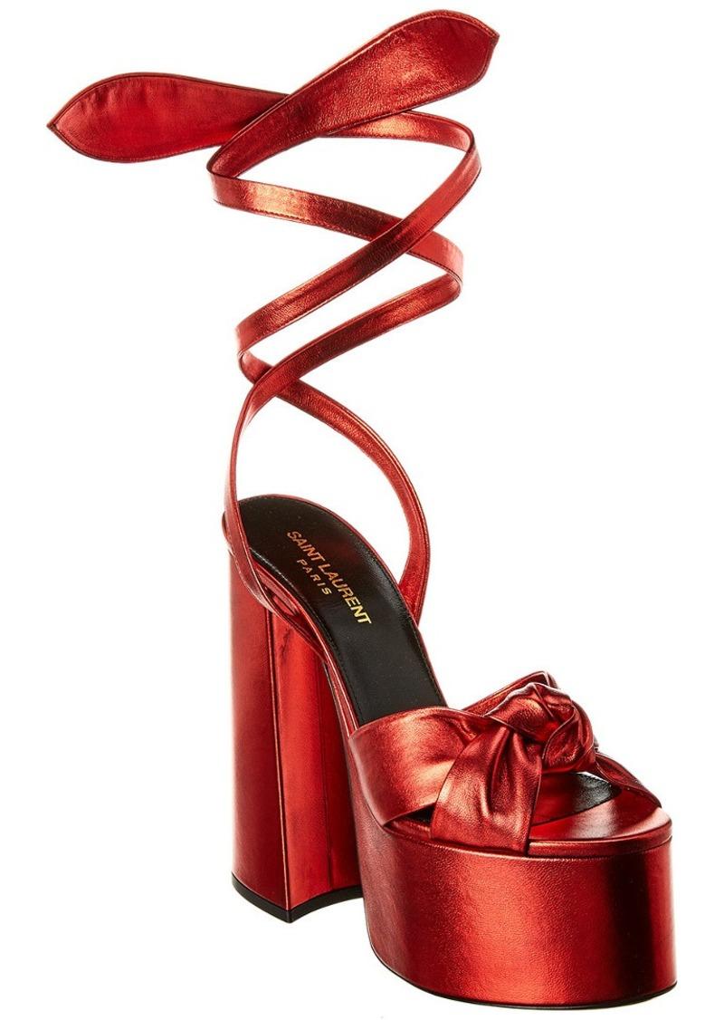 Saint Laurent Paige 110 Metallic Leather Platform Sandal