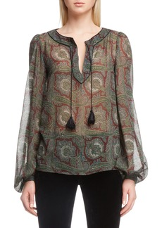 Saint Laurent Paisley Peasant Top