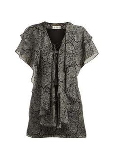 Saint Laurent Paisley-print ruffled silk georgette mini dress
