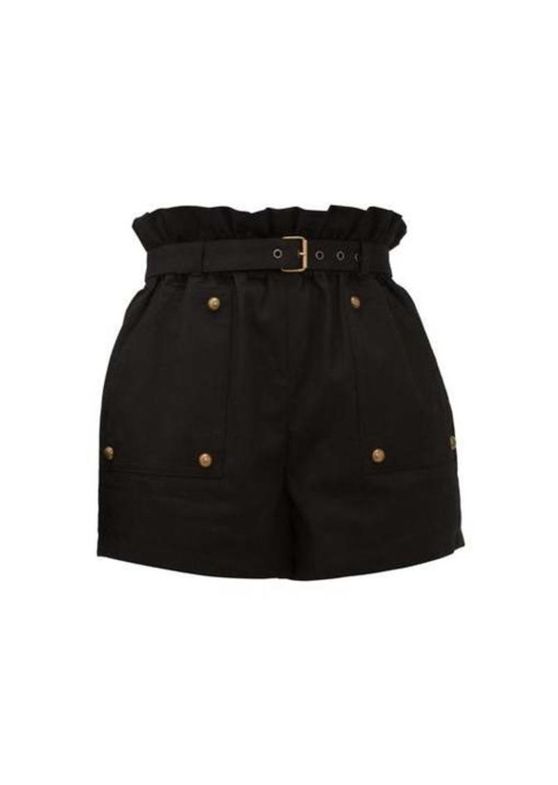 Saint Laurent Paperbag-waist cotton-blend shorts