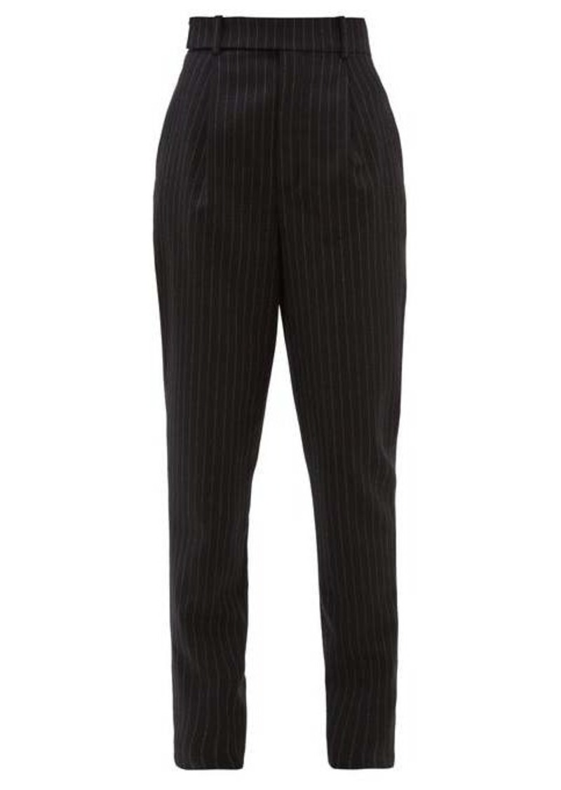 Saint Laurent Pinstriped high-rise wool trousers