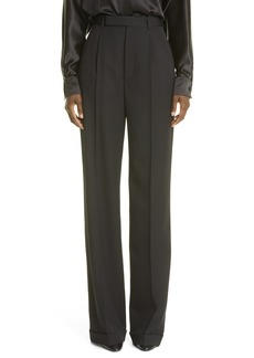 Saint Laurent Pleat Wide Leg Wool Pants