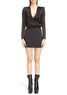 Saint Laurent Plunge Neck Satin Minidress