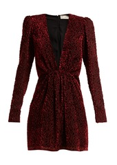 Saint Laurent Plunge-neck velvet devoré mini dress