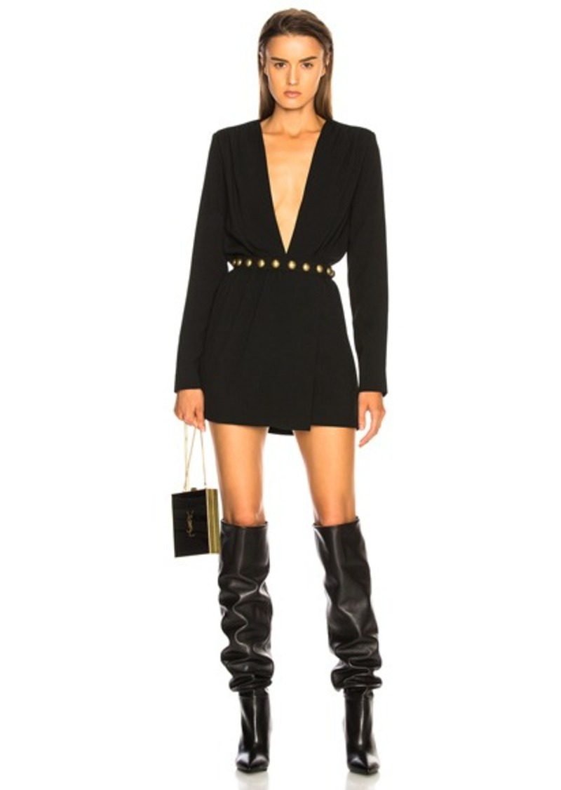 Saint Laurent Plunging Mini Dress