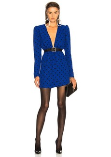 Saint Laurent Polka Dot Plunging Mini Dress