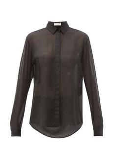 Saint Laurent Polka-dot silk-georgette shirt