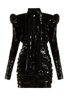 Saint Laurent Puff-sleeve sequinned mini dress