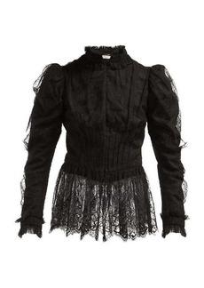 Saint Laurent Puffed-sleeve chantilly-lace blouse