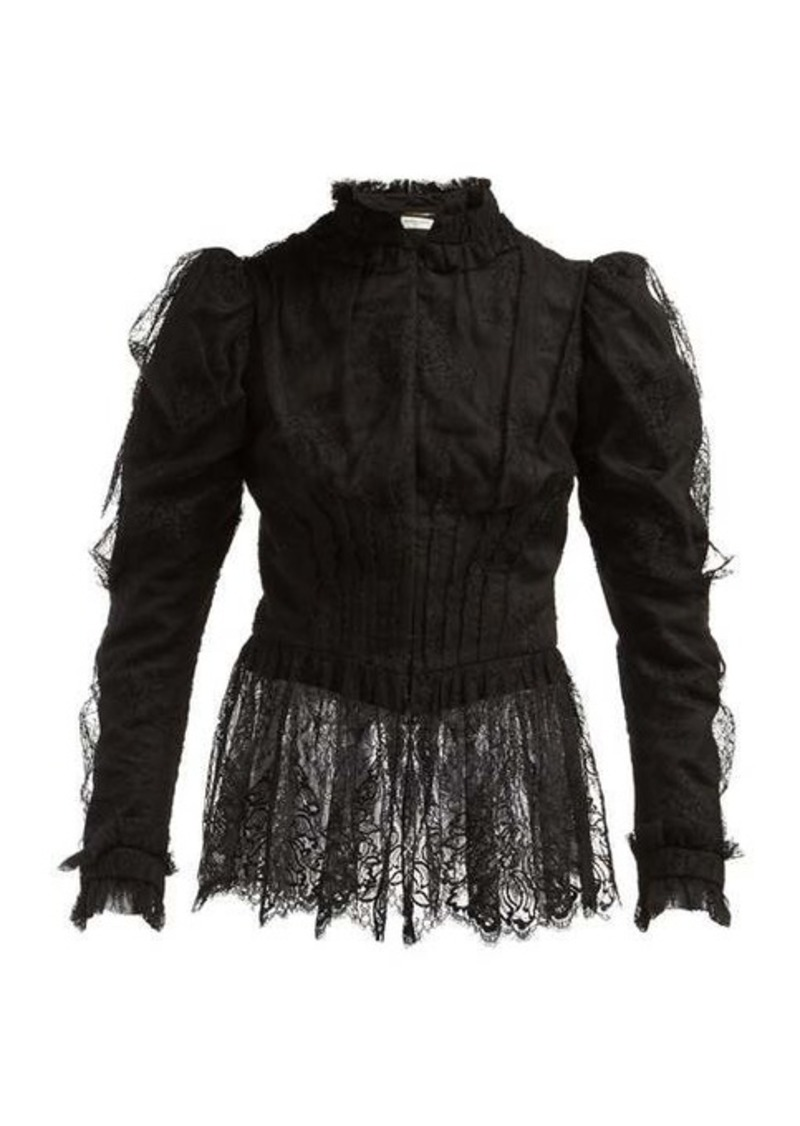 Saint Laurent Puffed-sleeve chantilly-lace blouse