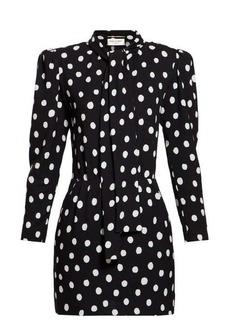 Saint Laurent Pussy-bow polka-dot crepe mini dress
