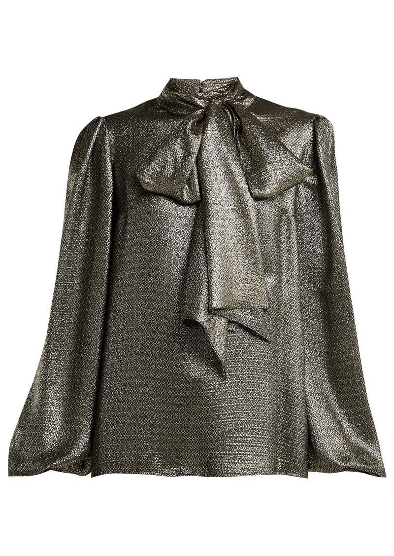 96b0b59f Saint Laurent Saint Laurent Pussy-bow silk-blend lamé blouse ...