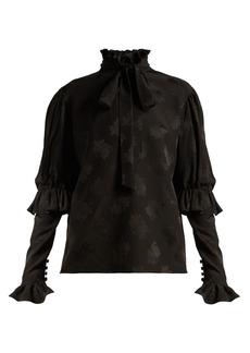 Saint Laurent Pussy-bow silk-jacquard blouse