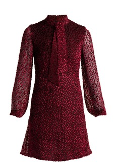 Saint Laurent Pussy-bow velvet devoré mini dress