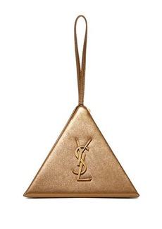 Saint Laurent Pyramid metallic leather clutch bag