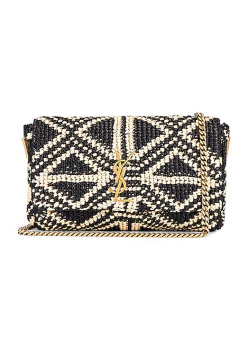 Saint Laurent Rafia Monogramme Kate Crossbody Bag