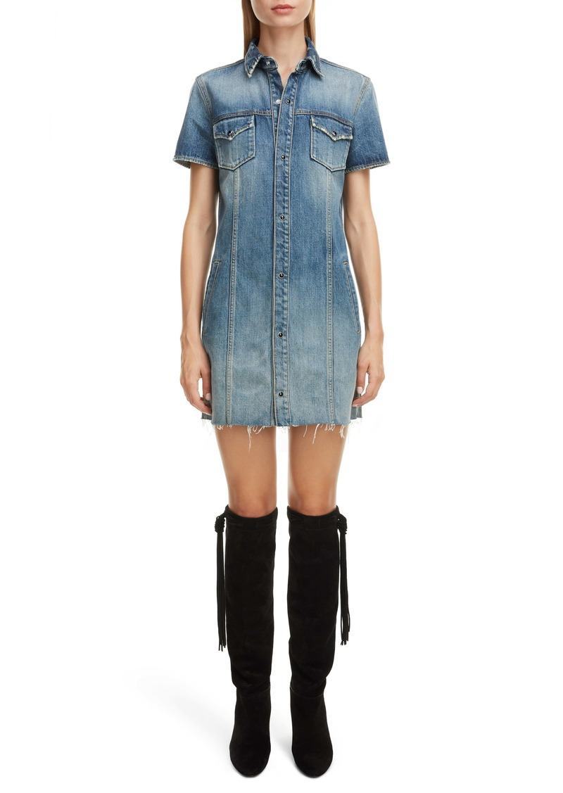 Saint Laurent Raw Edge Denim Shirtdress