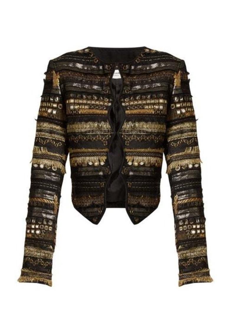 Saint Laurent Ribbed-knit collar suede bomber jacket