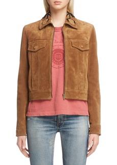 Saint Laurent Rose Detail Suede Jacket