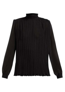 Saint Laurent Ruched-collar pleated silk-mousseline blouse