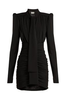 Saint Laurent Ruched crepe mini dress