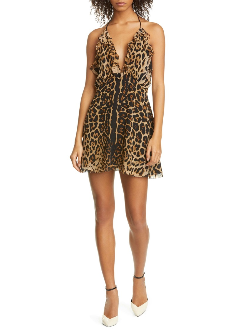 Saint Laurent Ruffle Trim Leopard Print Silk Halter Minidress