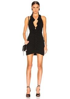 Saint Laurent Ruffle V Neck Mini Dress