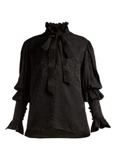 Saint Laurent Pussy-bow floral-jacquard blouse