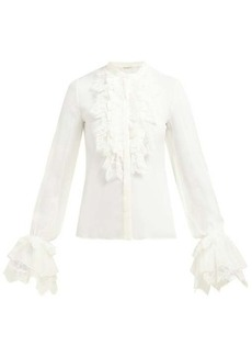 Saint Laurent Ruffled-trim chiffon blouse