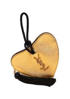 Saint Laurent Sac Coeur monogram metallic leather clutch