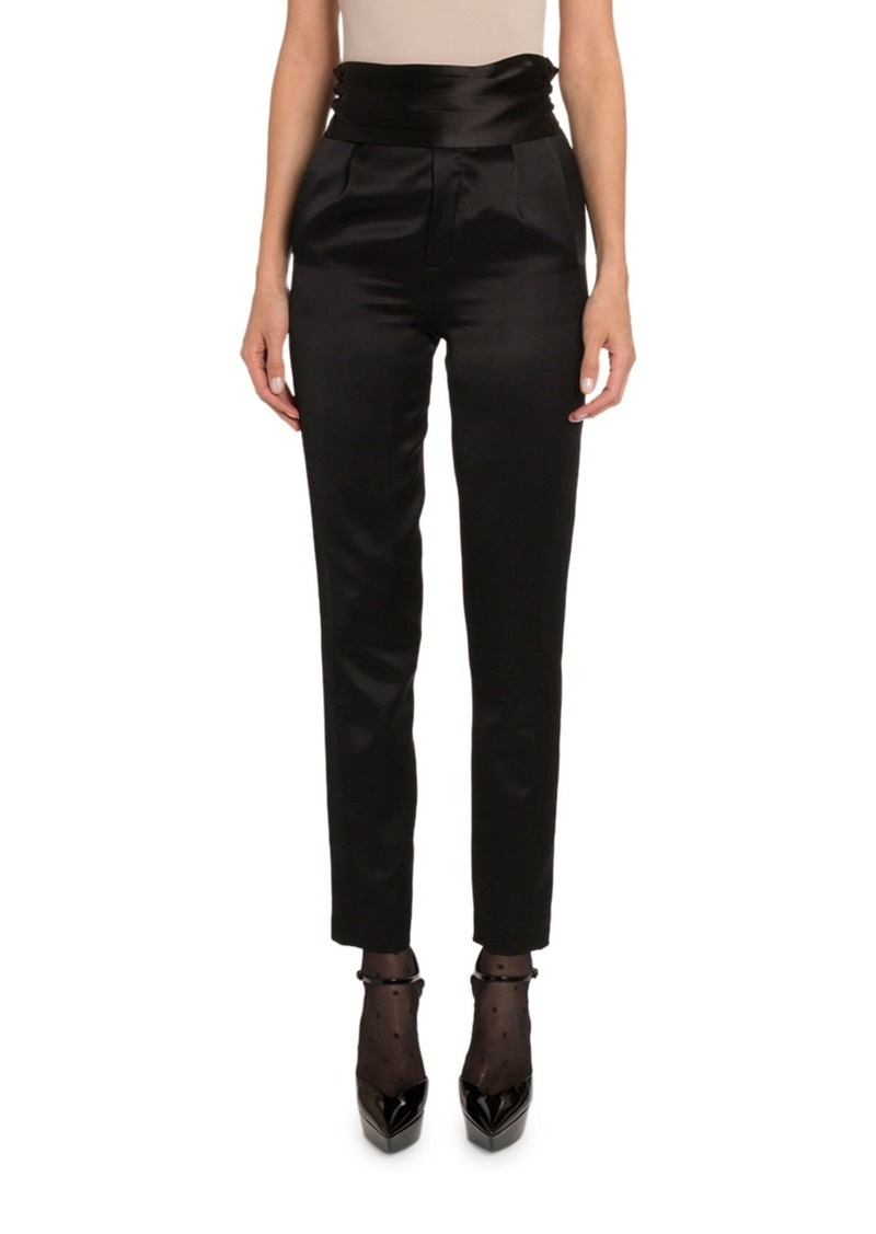 Saint Laurent Satin High-Rise Tuxedo Pants