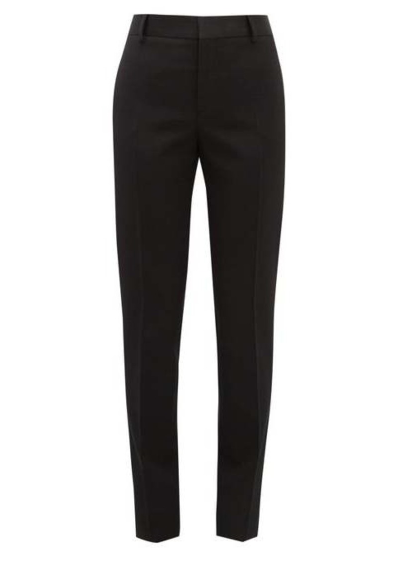 Saint Laurent Satin-trimmed slim-leg wool trousers
