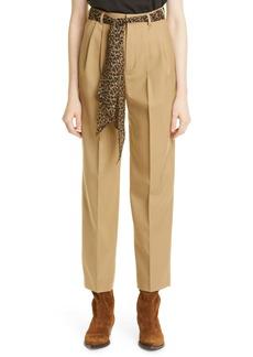 Saint Laurent Scarf Belt Wool Gabardine Pants